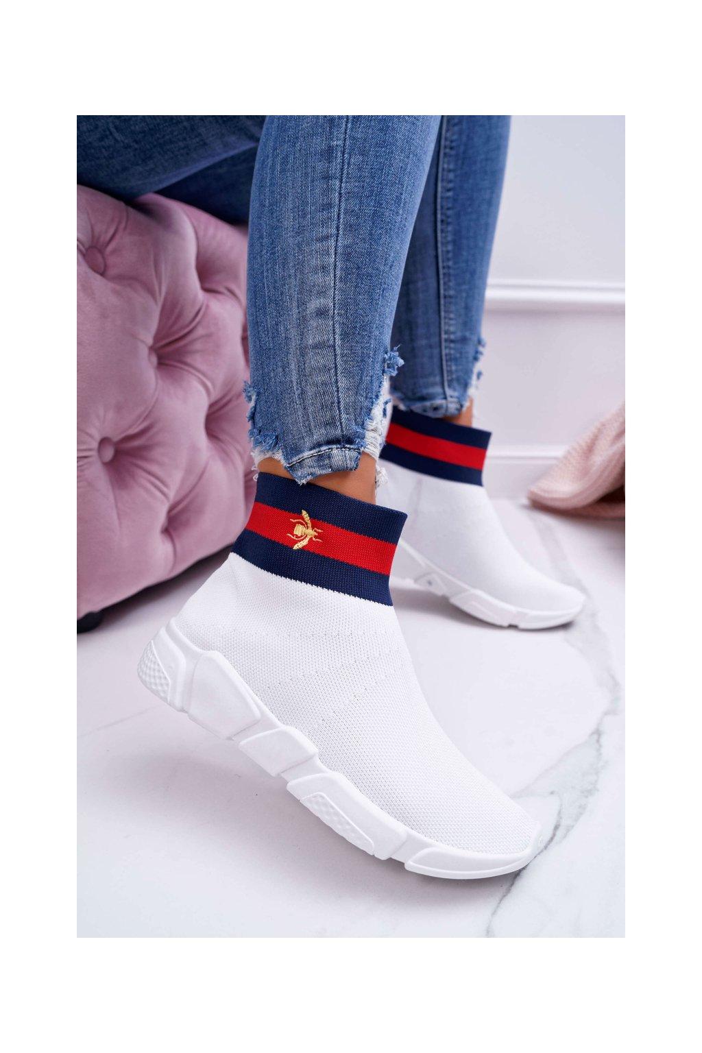 """Dámska obuv s """"Ponožkou"""" biela Deloram"""