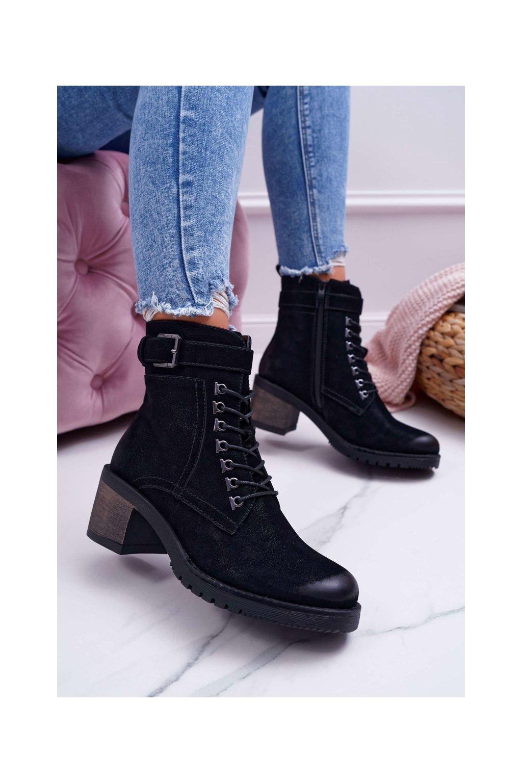 Dámske členkové topánky na podpätku Sergio Leone čierne BT705