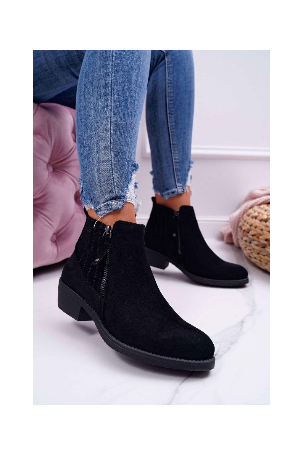Členkové topánky na podpätku farba čierna kód obuvi BT500 BLK MIC