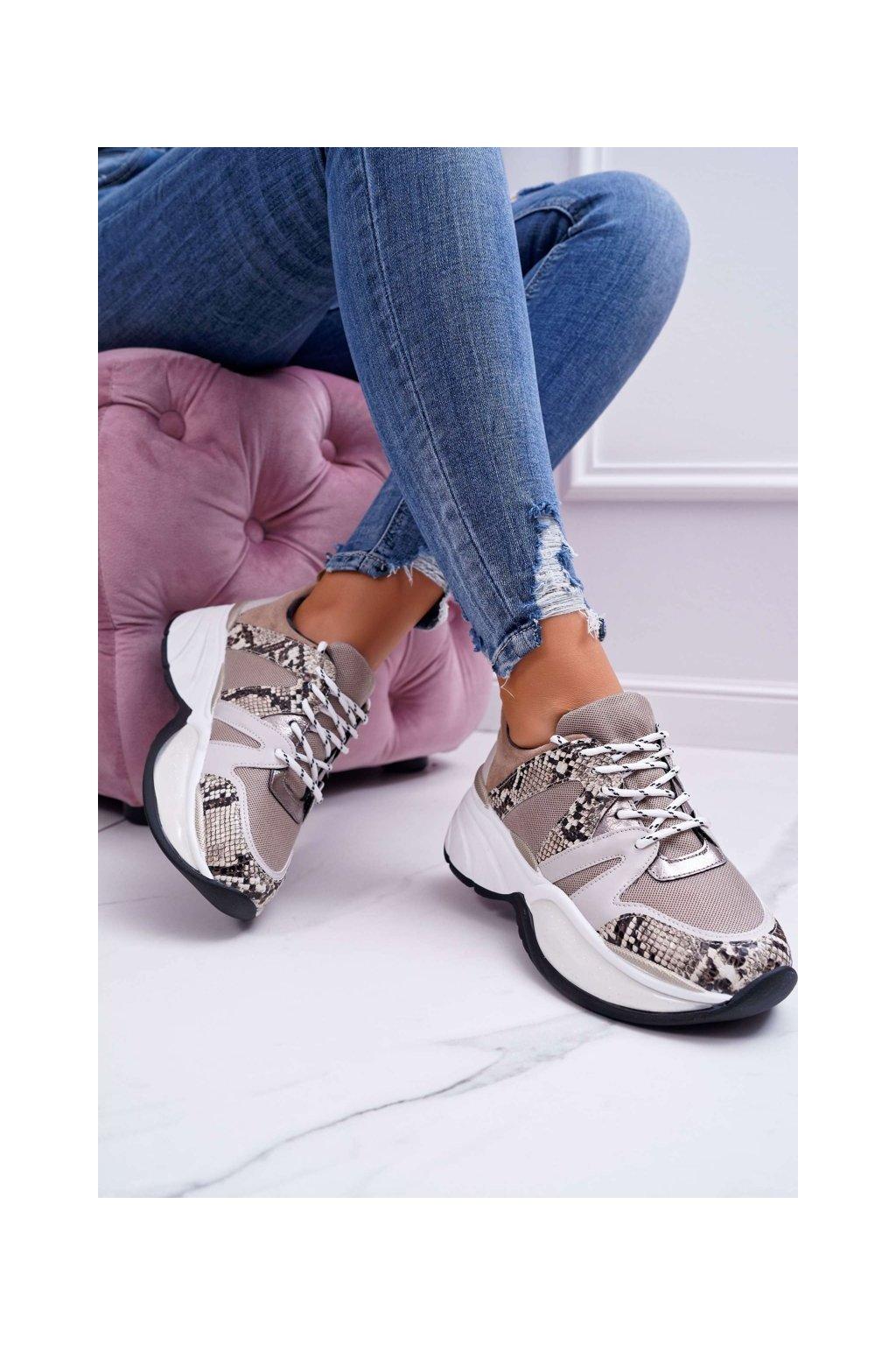 Dámske tenisky farba hnedá kód obuvi FY091-4 BEIGE