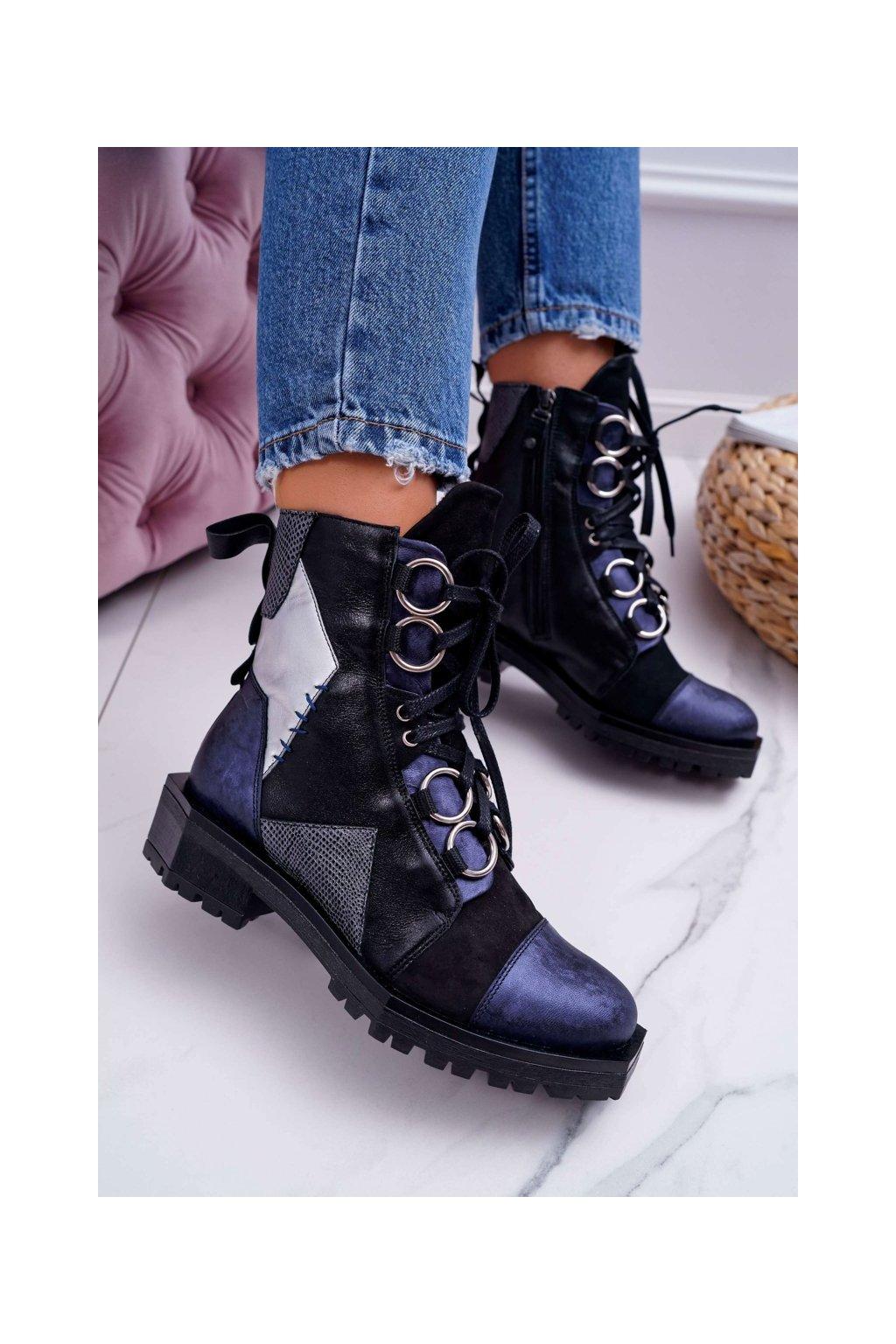 Členkové topánky na podpätku farba modrá kód obuvi 04184-17/00-3 NAVY