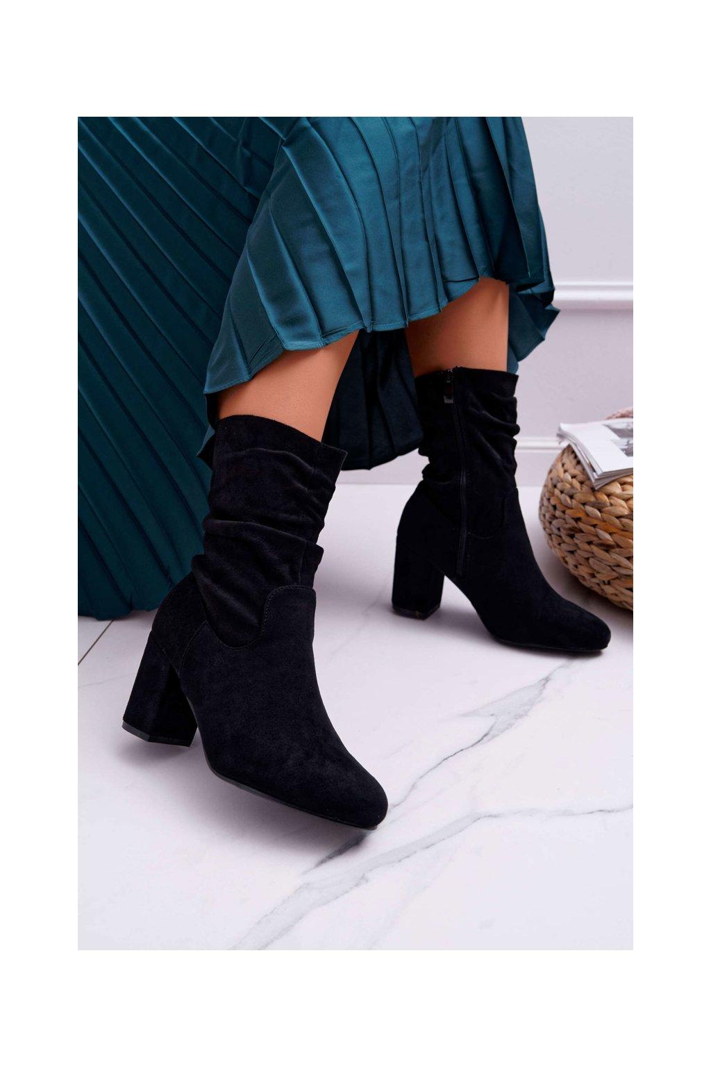 Dámske členkové topánky na podpätku Semišové čierne Endless