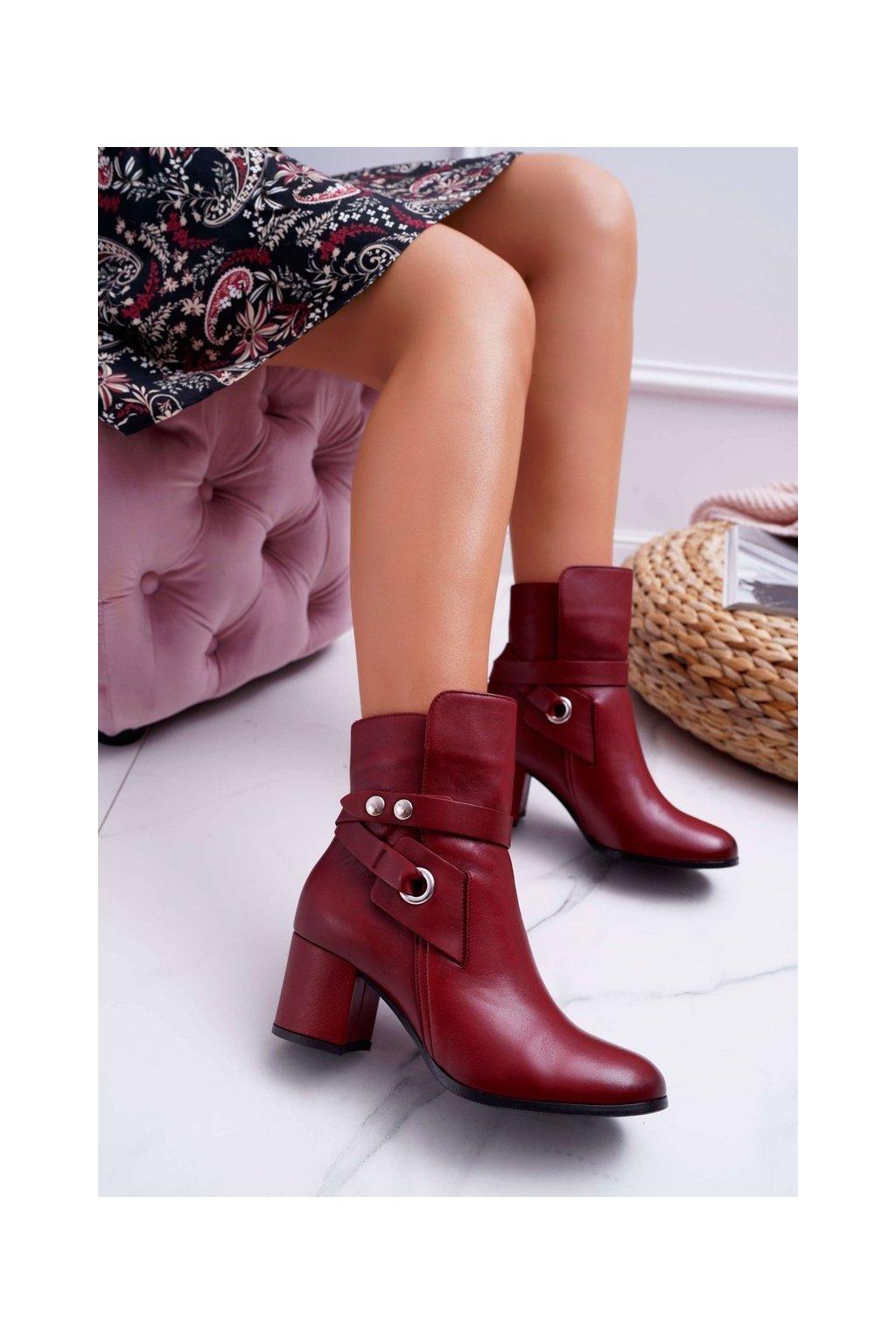 Členkové topánky na podpätku farba červená kód obuvi 1820 RED