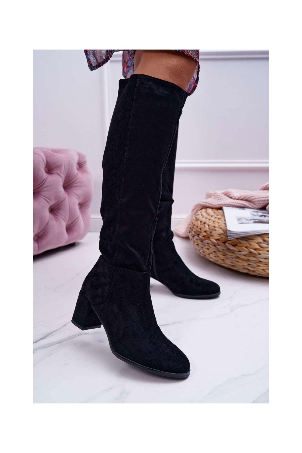 Dámske čižmy farba čierna kód obuvi KZ273 BLK MIC