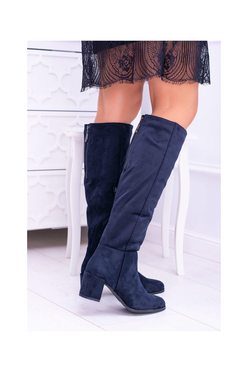 Tmavo modré dámske semišové topánky Sergio Leone KZ273