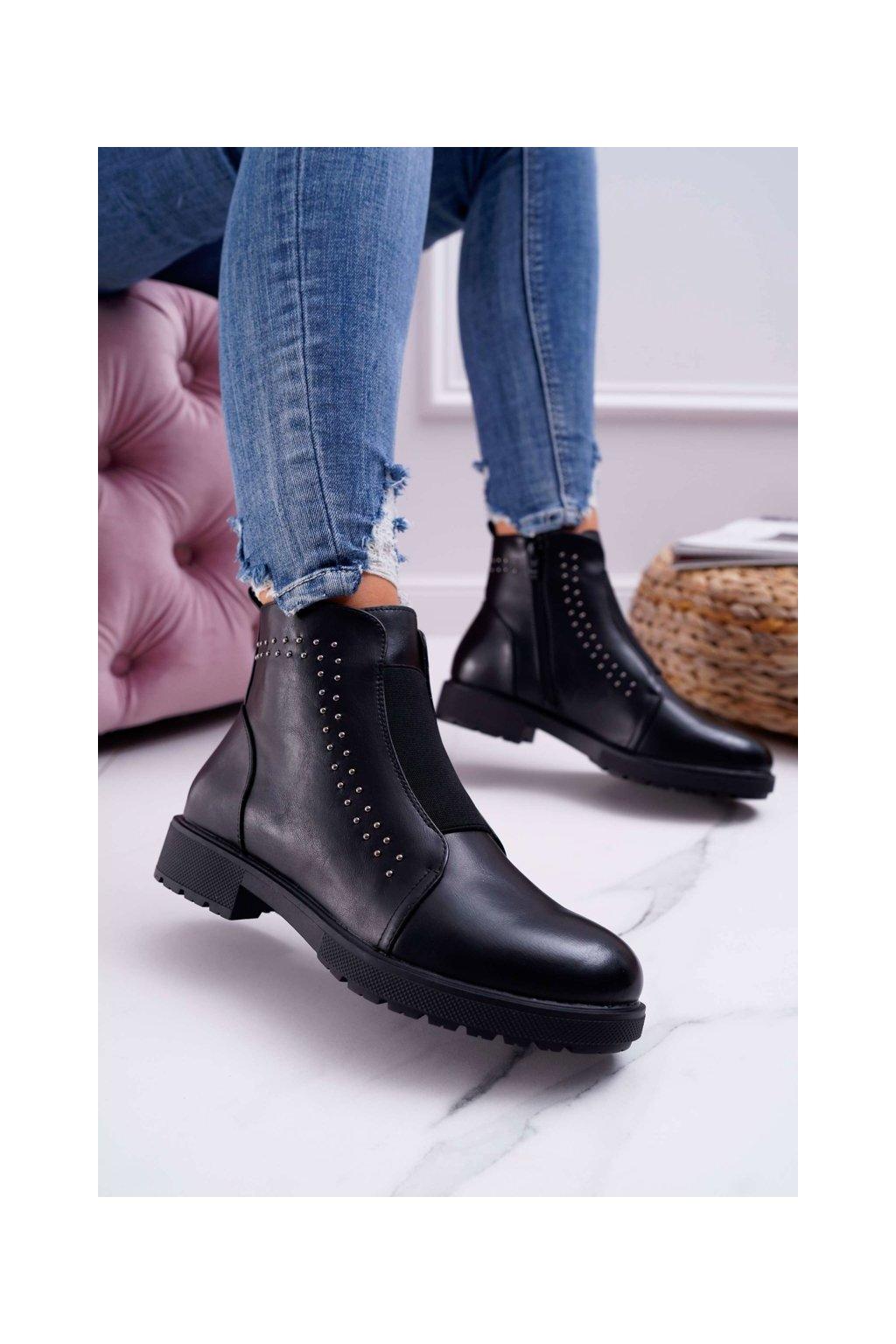 Dámske členkové topánky čierne Sergio Leone BT519