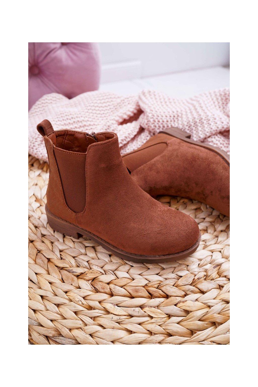 Detské členkové topánky farba hnedá kód obuvi KID076 CAMEL