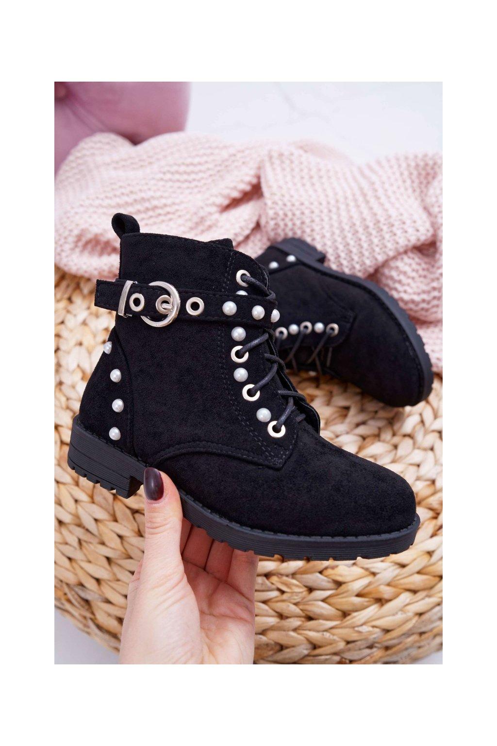 Detské členkové topánky farba čierna kód obuvi KID069 BLK
