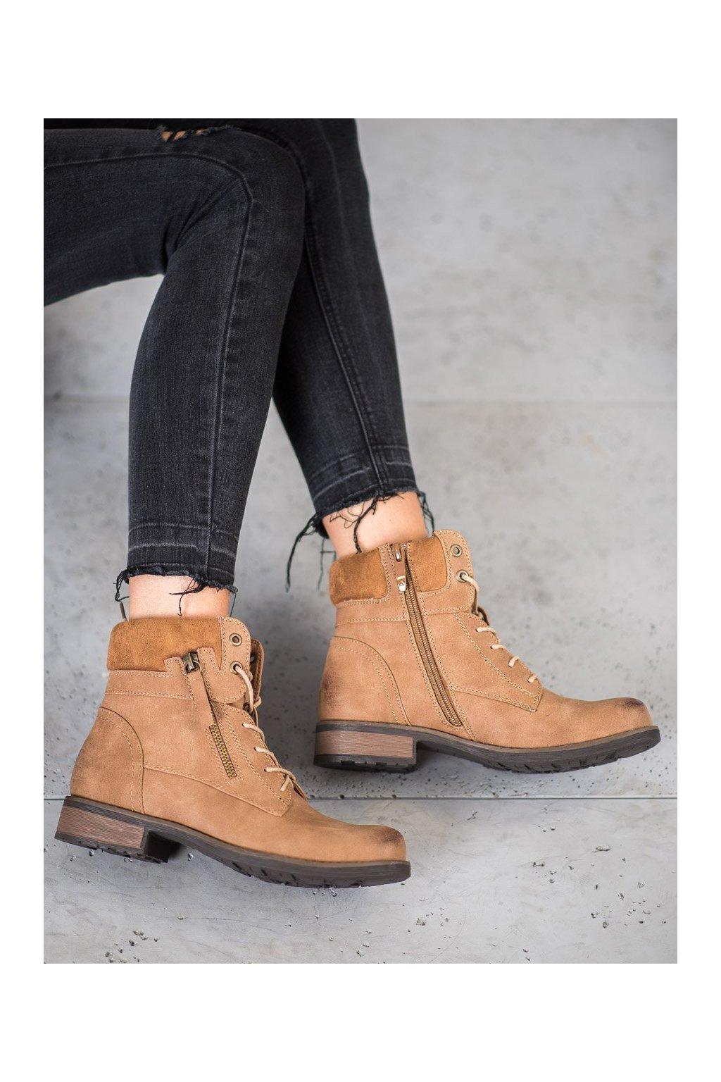 Hnedé dámske topánky na plochom podpätku Goodin kod GD-WL-09C