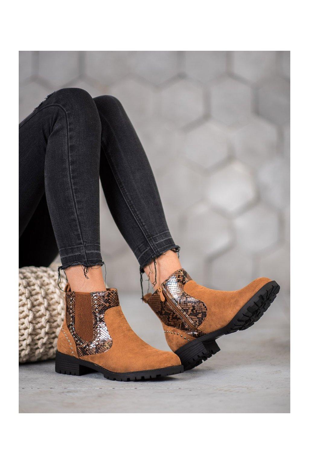 Hnedé dámske topánky Small swan kod OM5325C