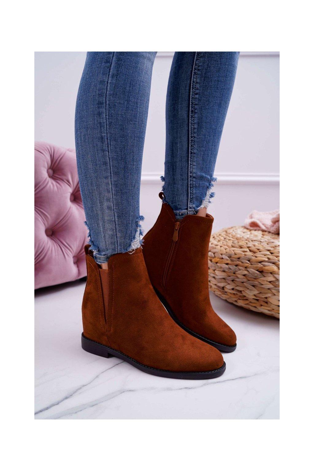 Členkové topánky na podpätku farba hnedá kód obuvi BM279 CAMEL