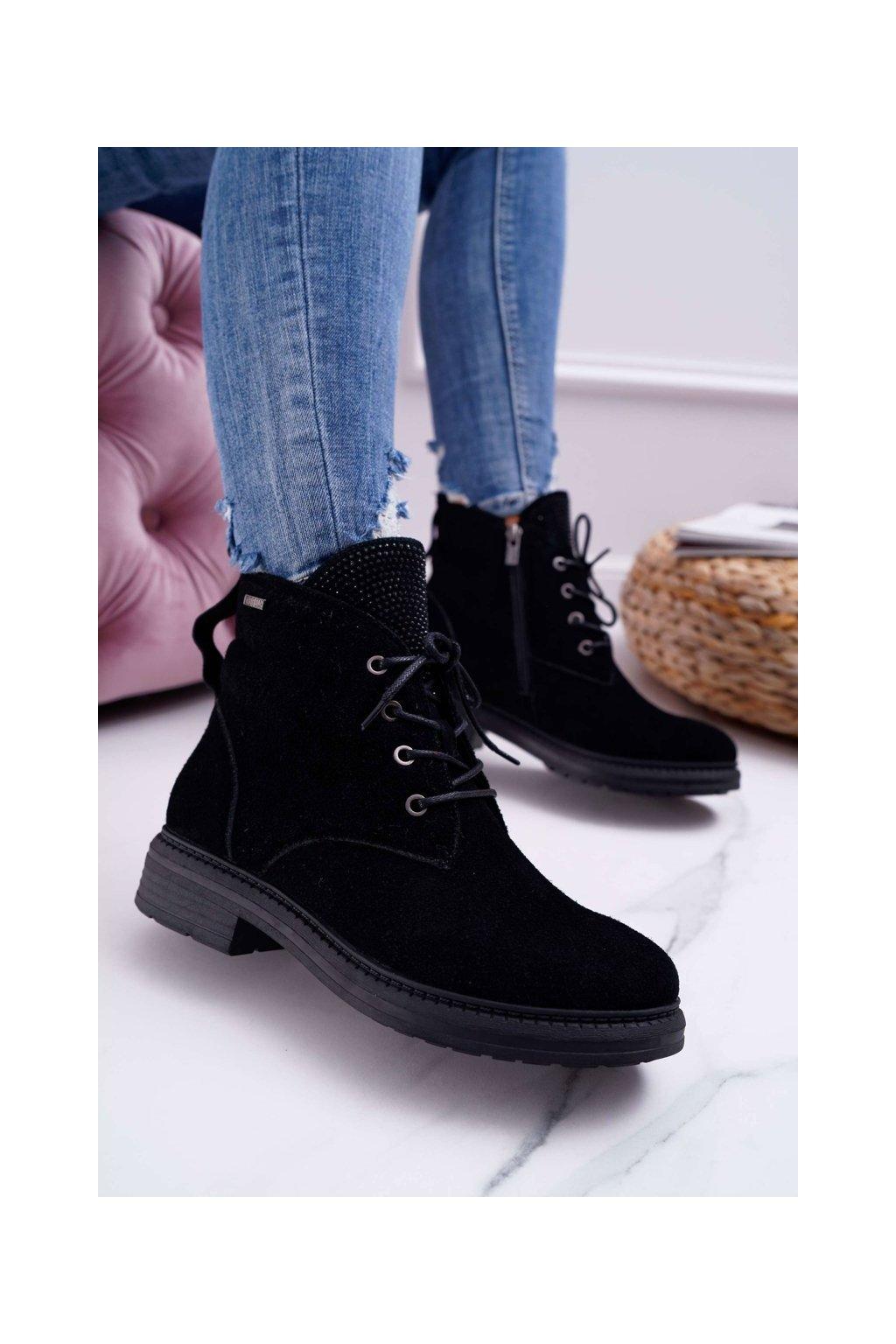 Členkové topánky na podpätku farba čierna kód obuvi EE274508 BLK