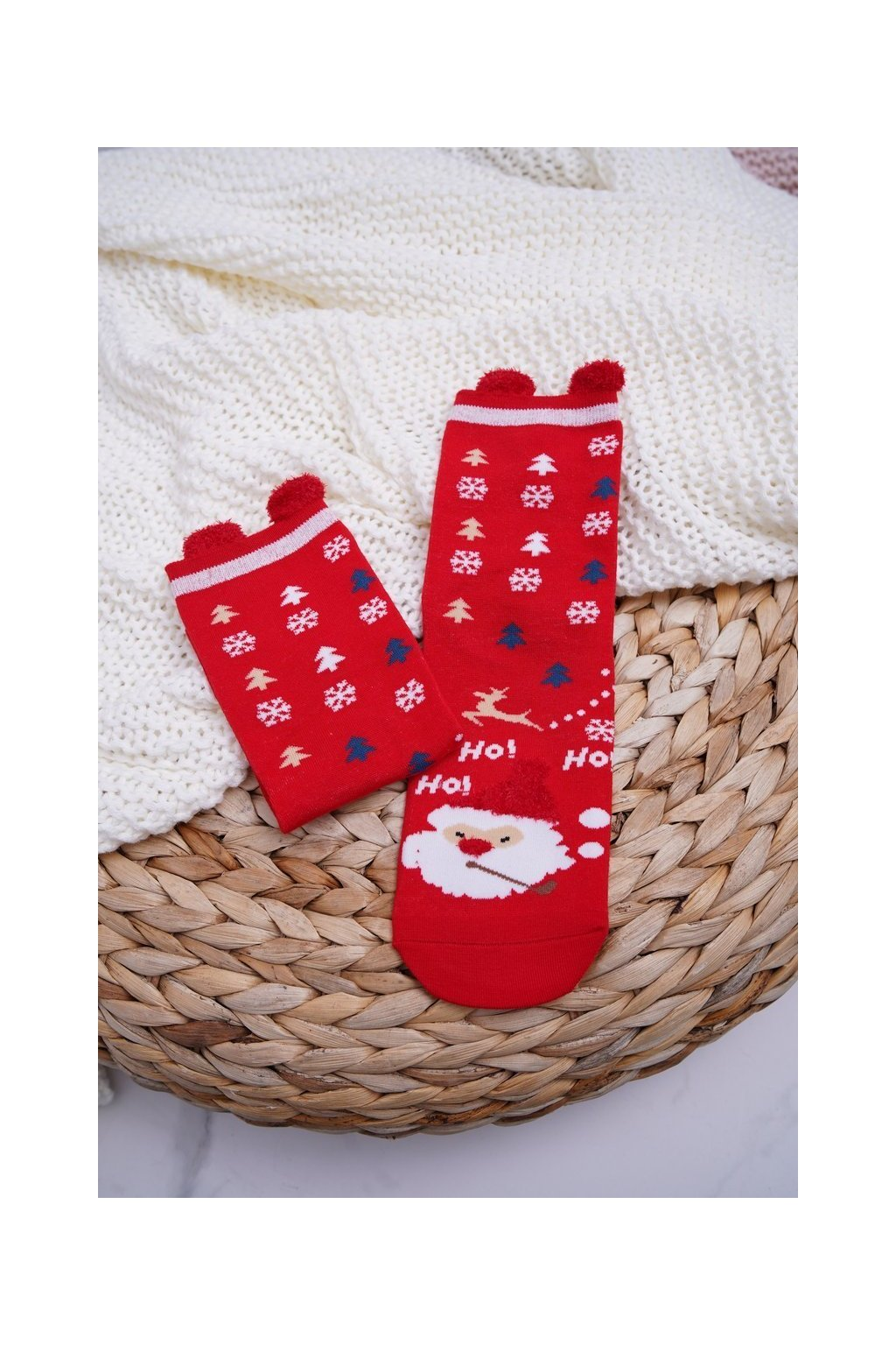 Dámske ponožky vianočné červené s ušami Mikuláš