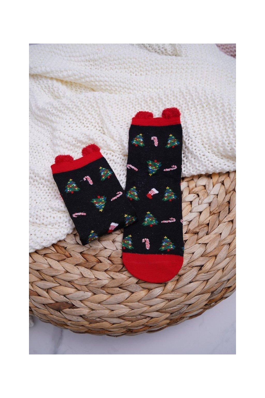 Dámske ponožky vianočné čierne s ušami Strom