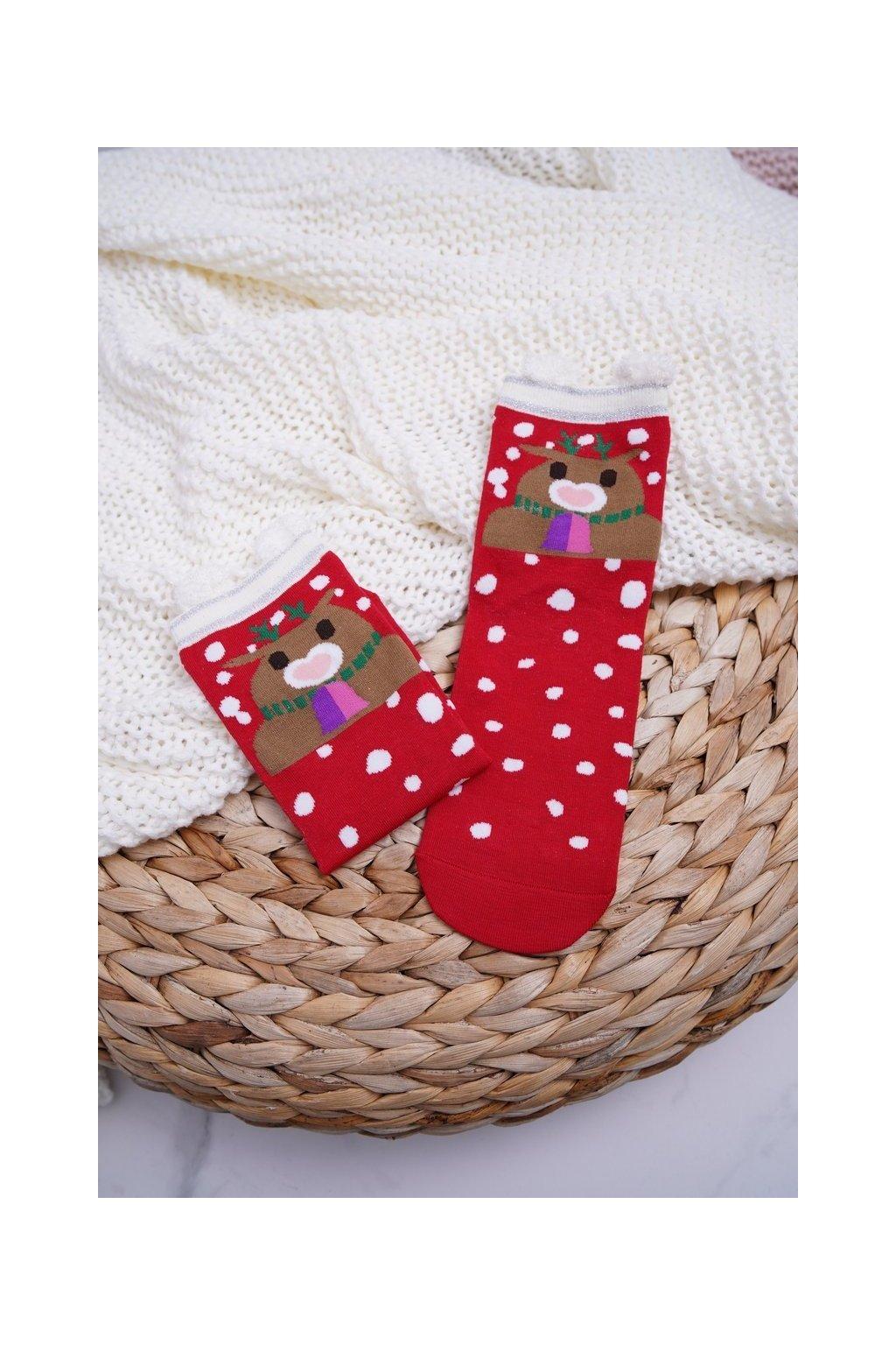 Dámske Ponožky vianočné Červené s Ušima Sobi