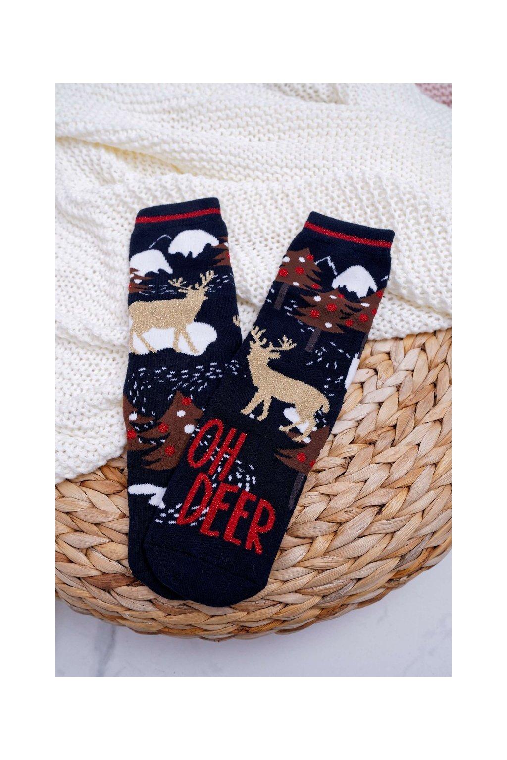 Dámske Ponožky vianočné protiskluzové tmavo modré OH DEER