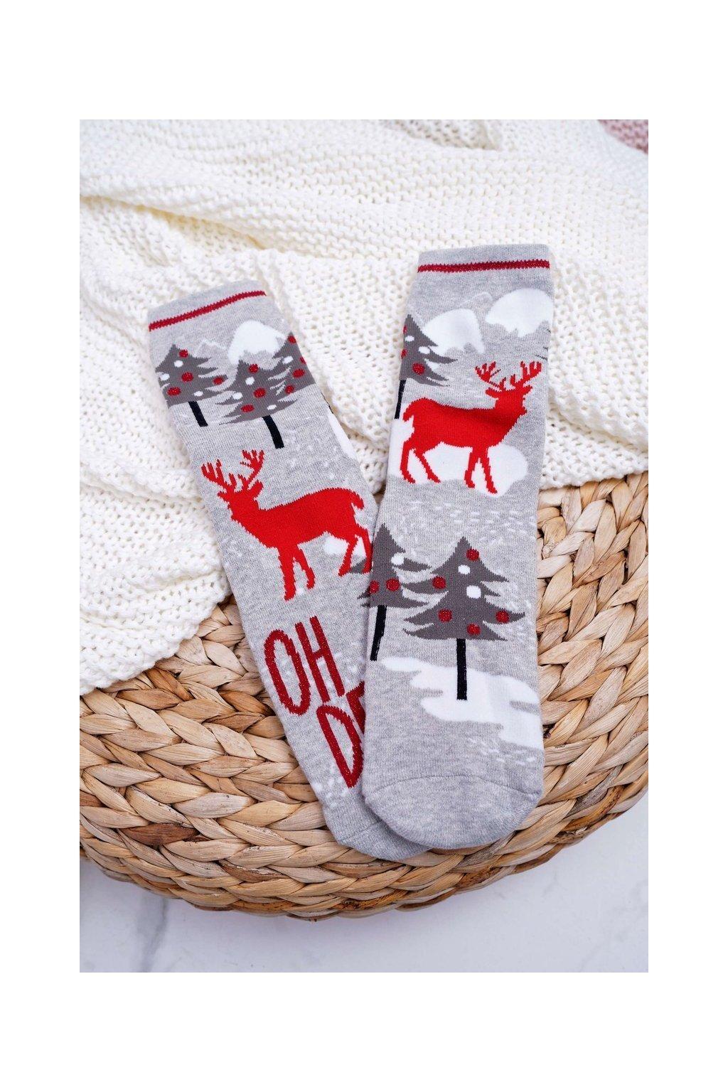 Dámske Ponožky vianočné protiskluzové sivé OH DEER