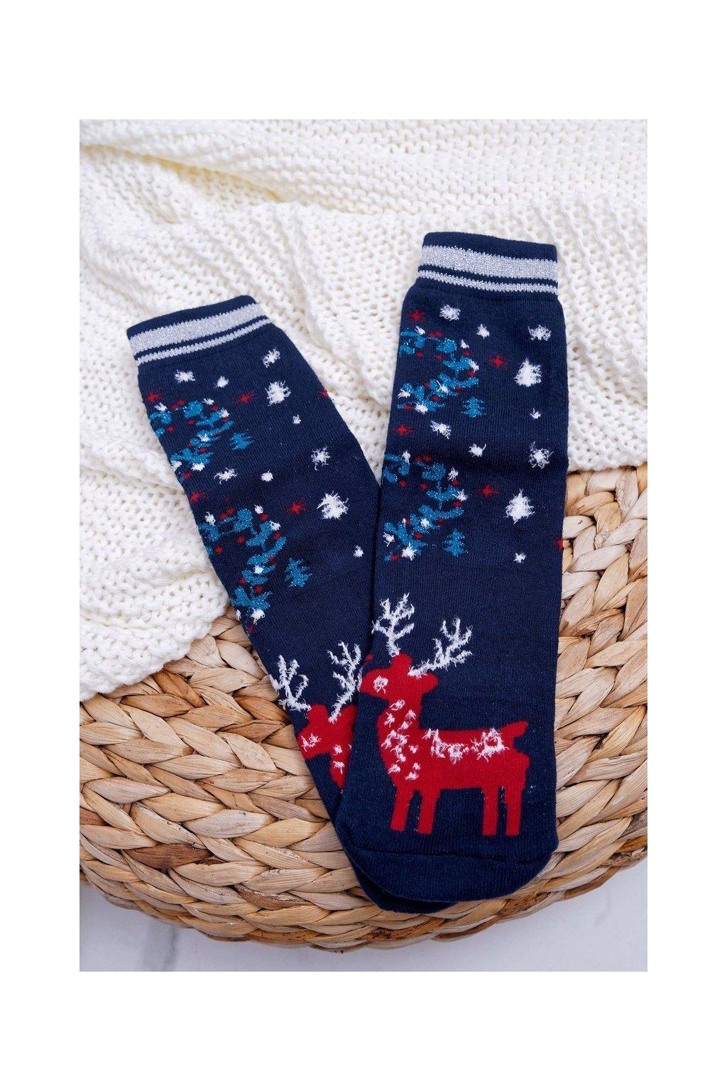 Dámske ponožky farba modrá kód SNV5089 NAVY REINDEER