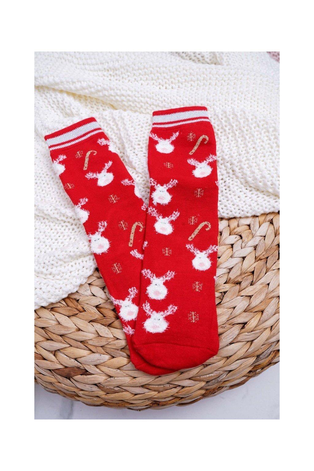 Dámske ponožky farba červená kód SNV5089 RED REINDEER II