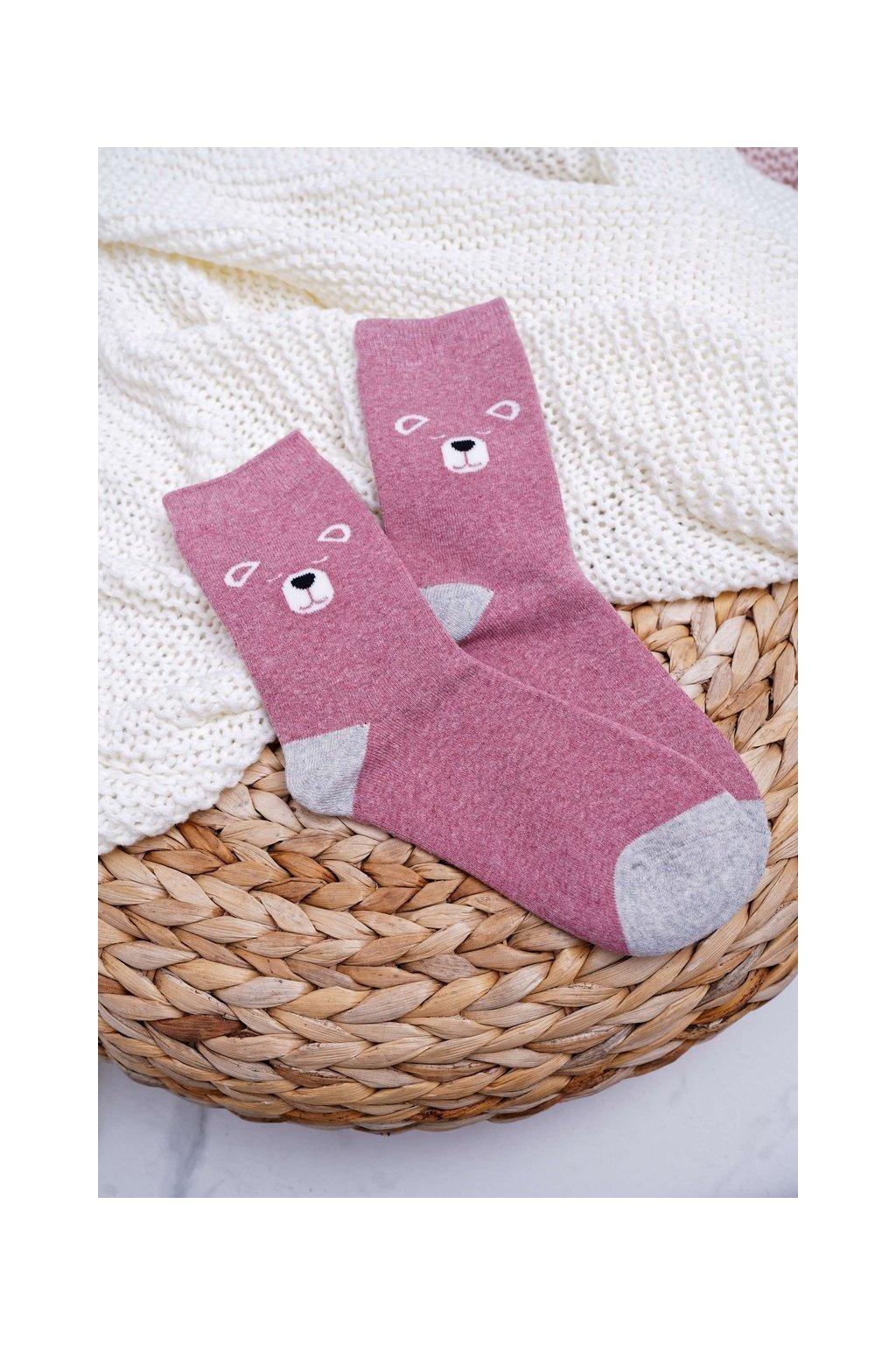 Dámske ponožky hrejivé ružové s medveďmi