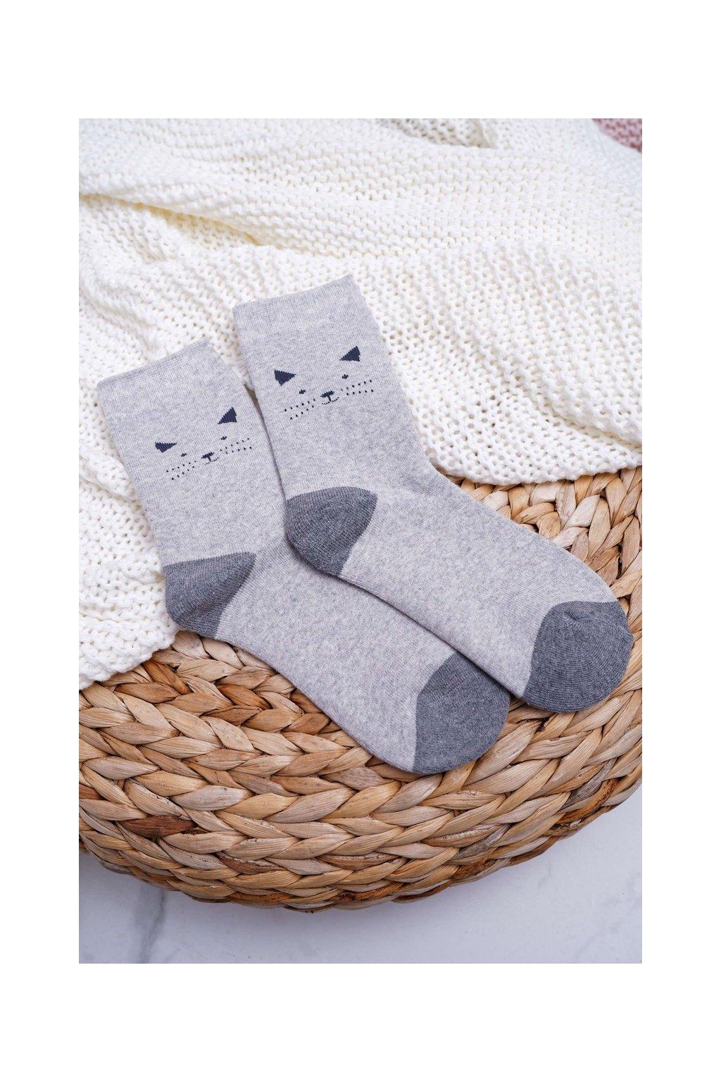 Dámske sivé hrejivé ponožky s mačičkou