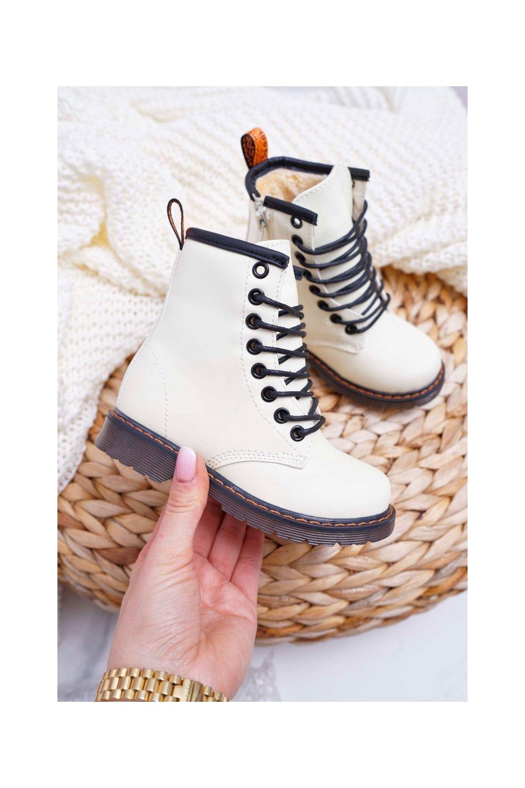 Detské členkové topánky farba biela kód obuvi 20327-1B/2B WHITE