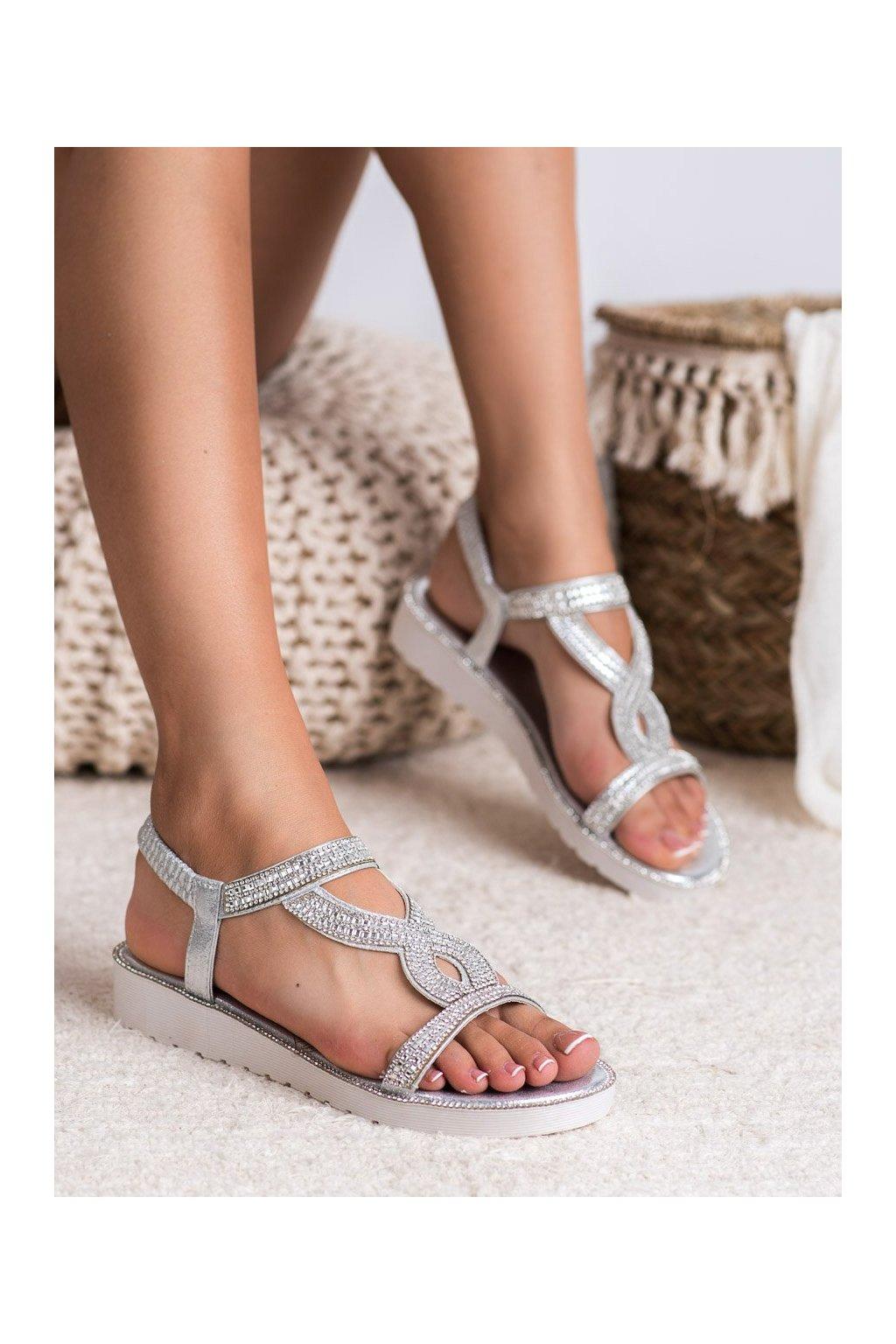 Sivé sandále na platforme Shelovet kod 127-88S