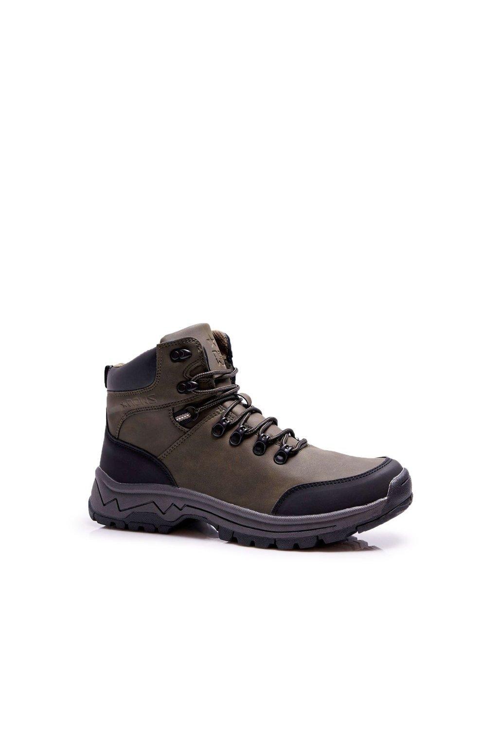 Pánske trekingové topánky farba zelená kód obuvi 9TR85-1420 KHAKI