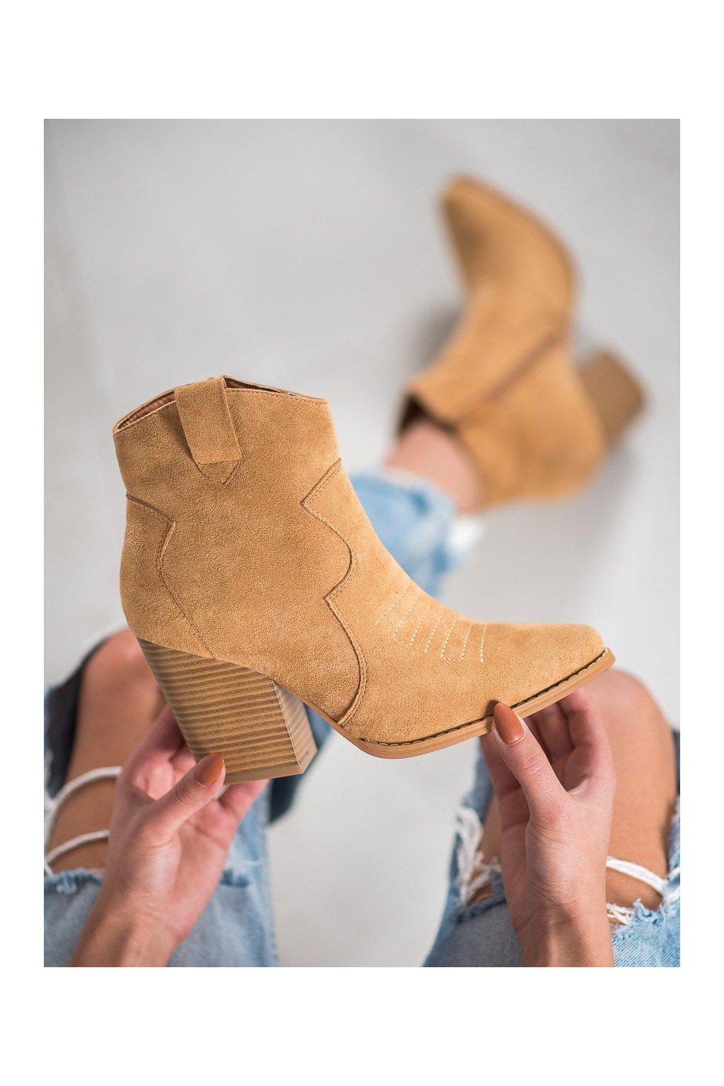 Hnedé dámske topánky na hrubom podpätku Bella paris kod A5602C