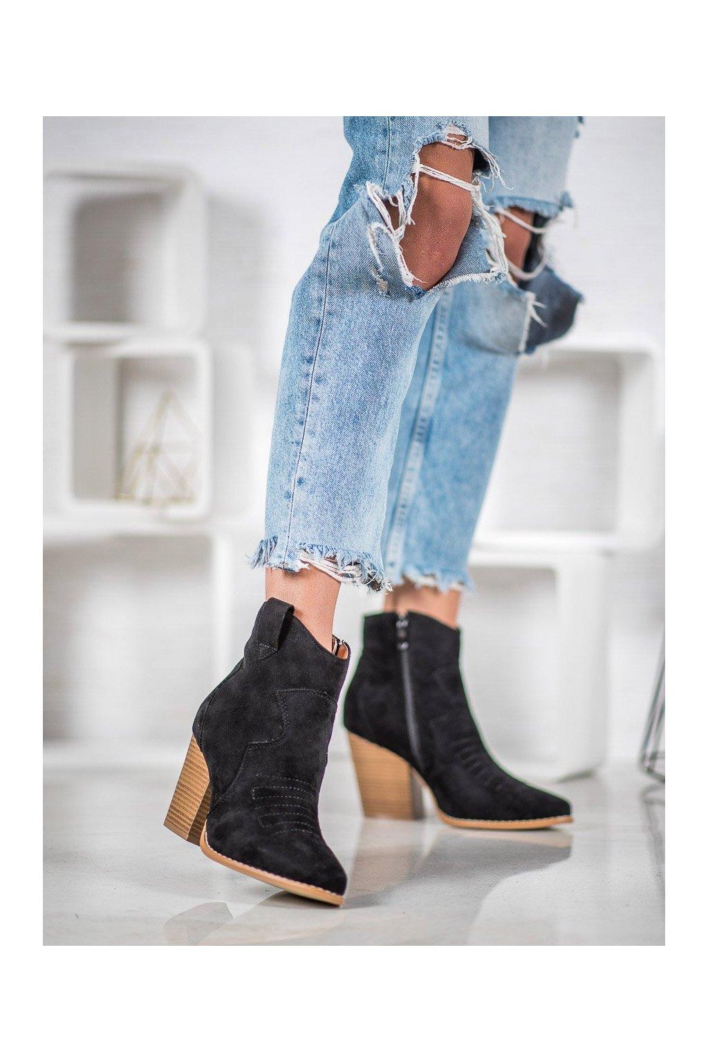 Čierne dámske topánky na hrubom podpätku Bella paris kod A5602B