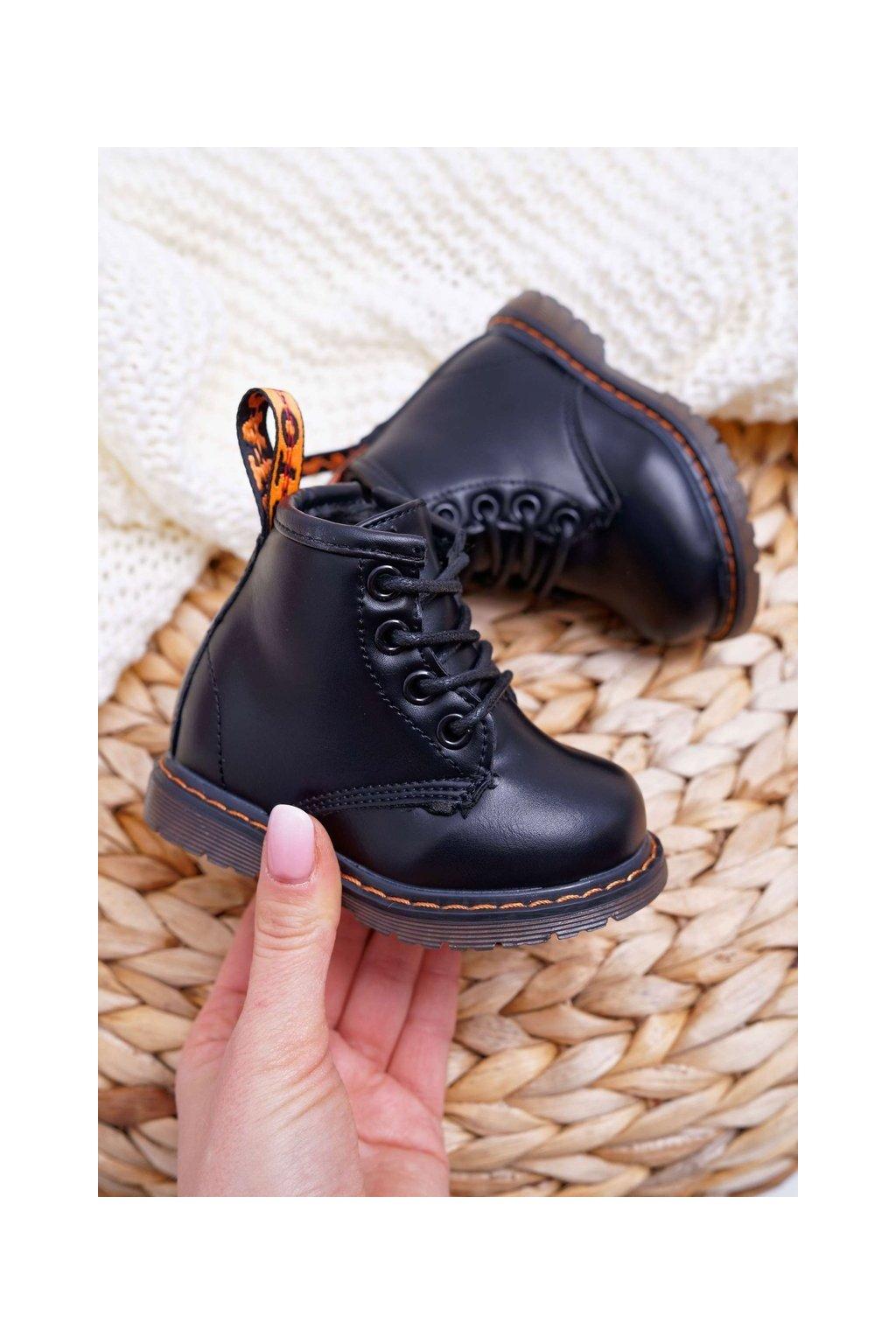 Detské členkové topánky farba čierna kód obuvi 20321-3A BLK