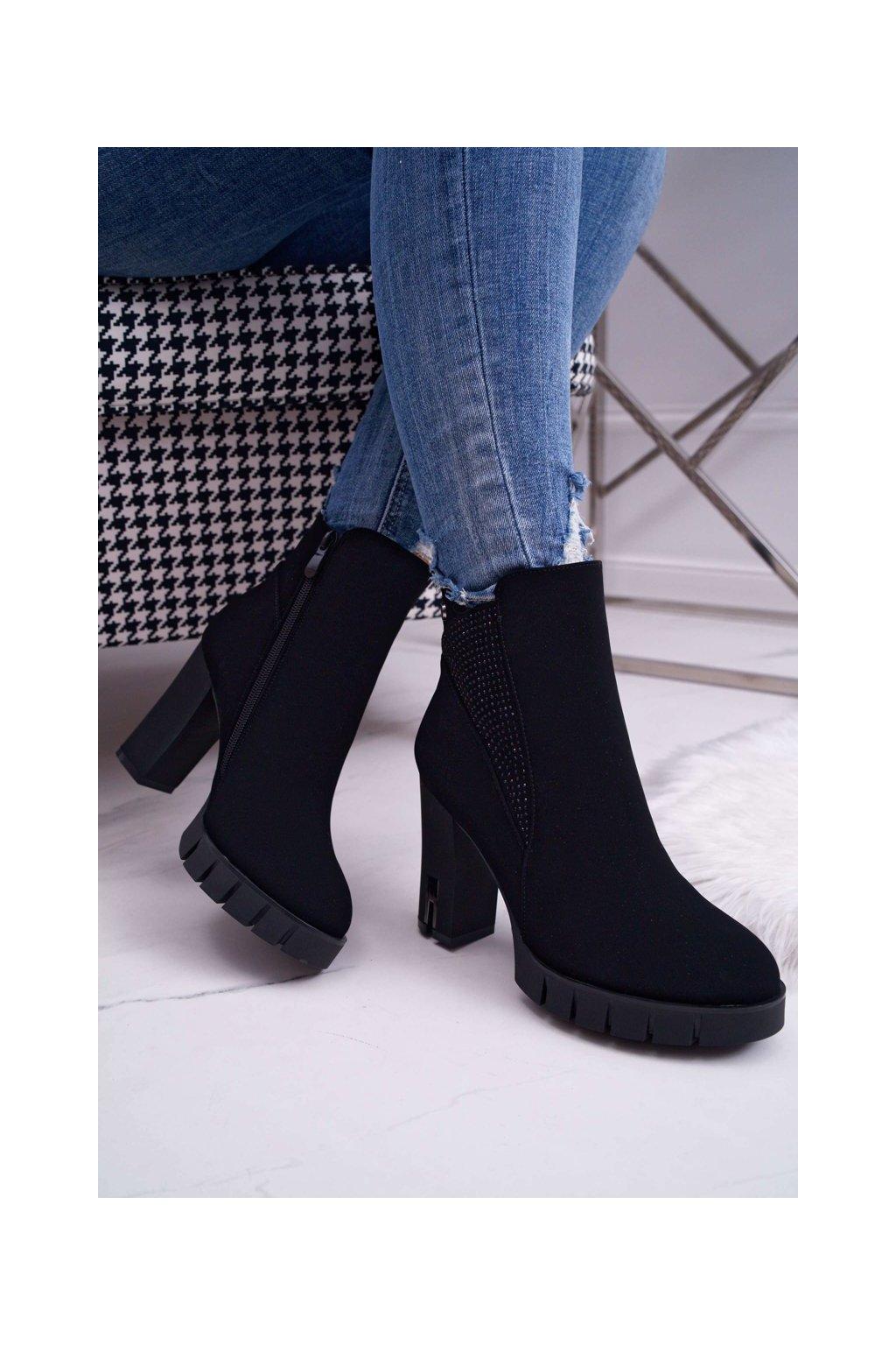 Dámske členkové topánky na podpätku so zirkónmi čierne Deren