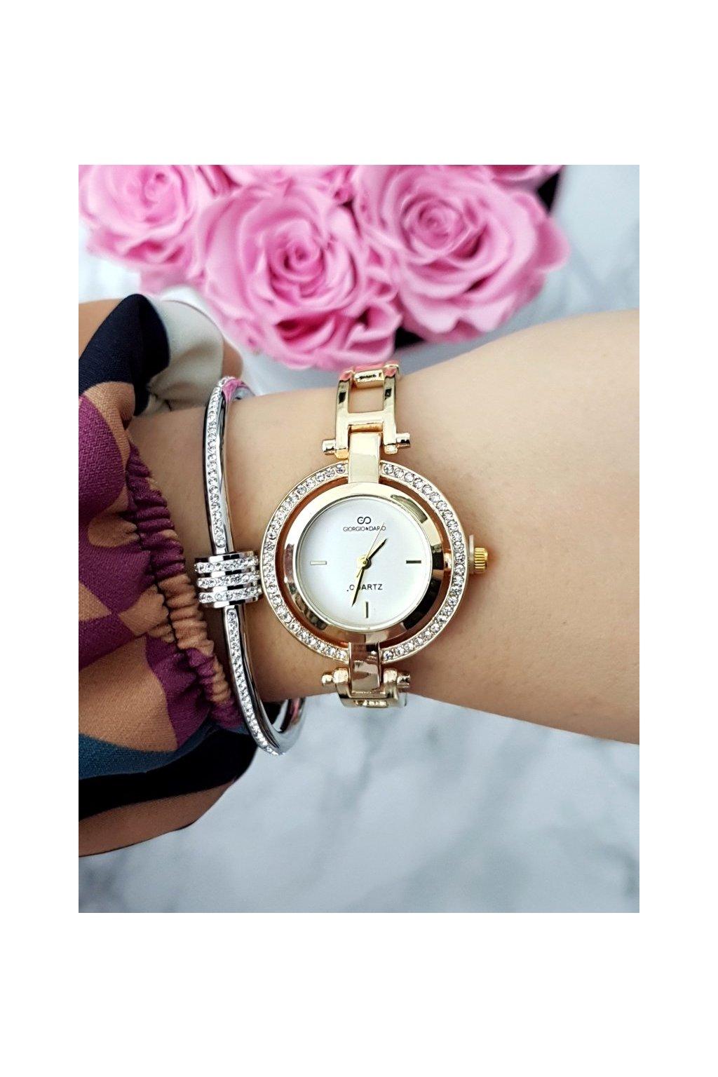 Dámske hodinky Giorgio & Dario so zirkónmi Get zlatý