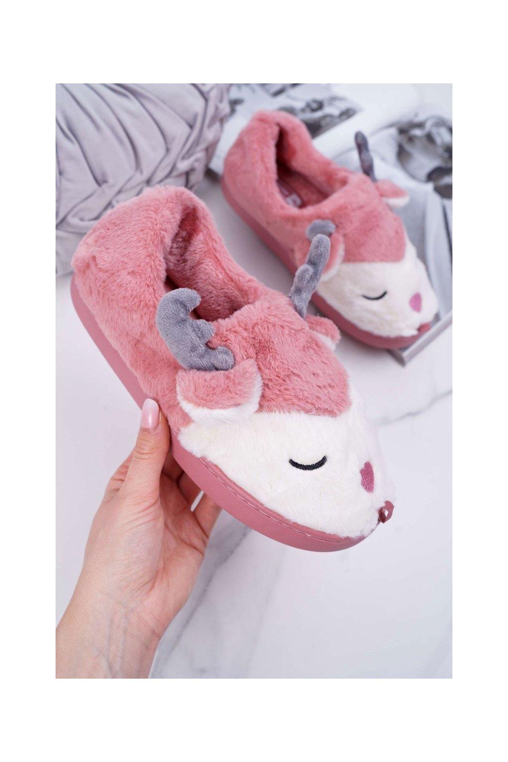 Dámske papuče s kožušinou sob tmavo ružove Reindeer