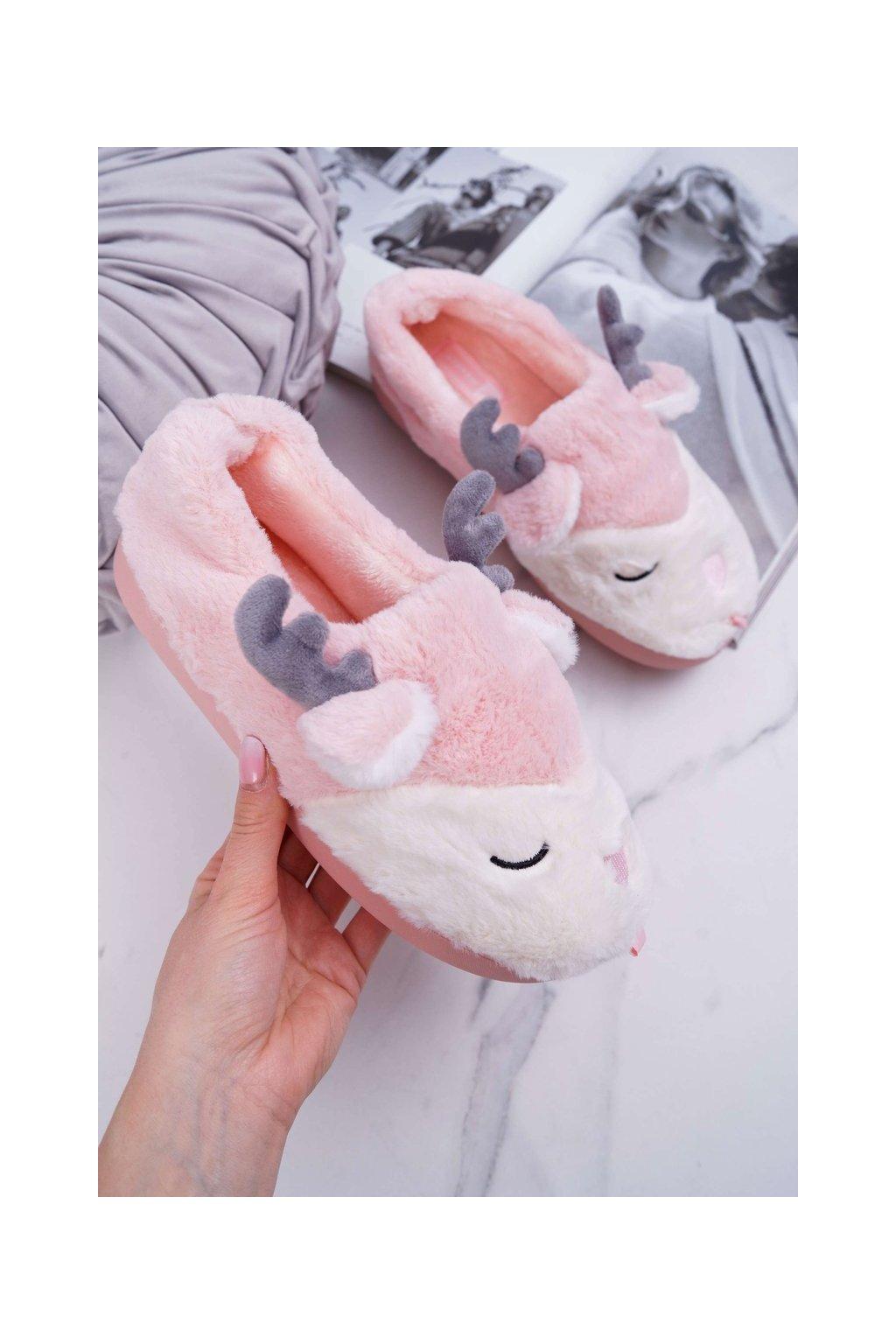 Dámske papuče s kožušinou sob ružové Reindeer