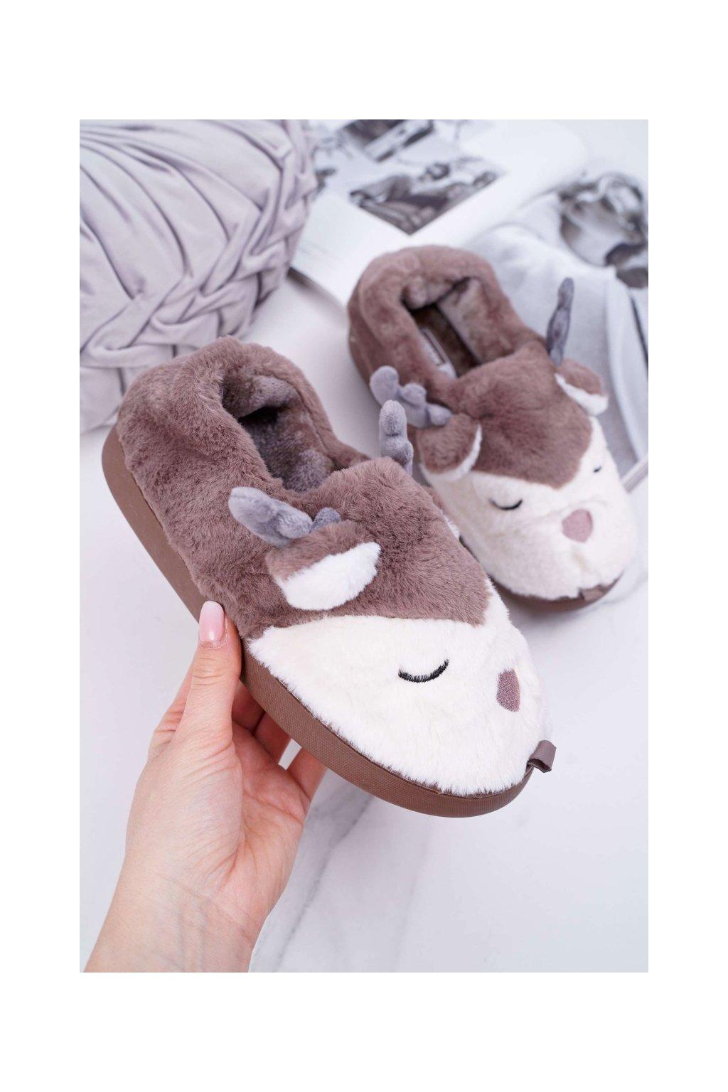 Dámske papuče s kožušinou sob hnedé Reindeer