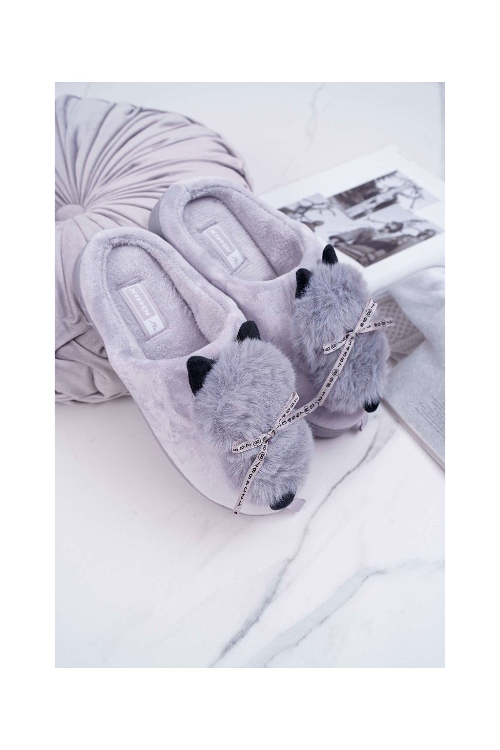 Dámske papuče s kožušinou kocour sivé Kitty