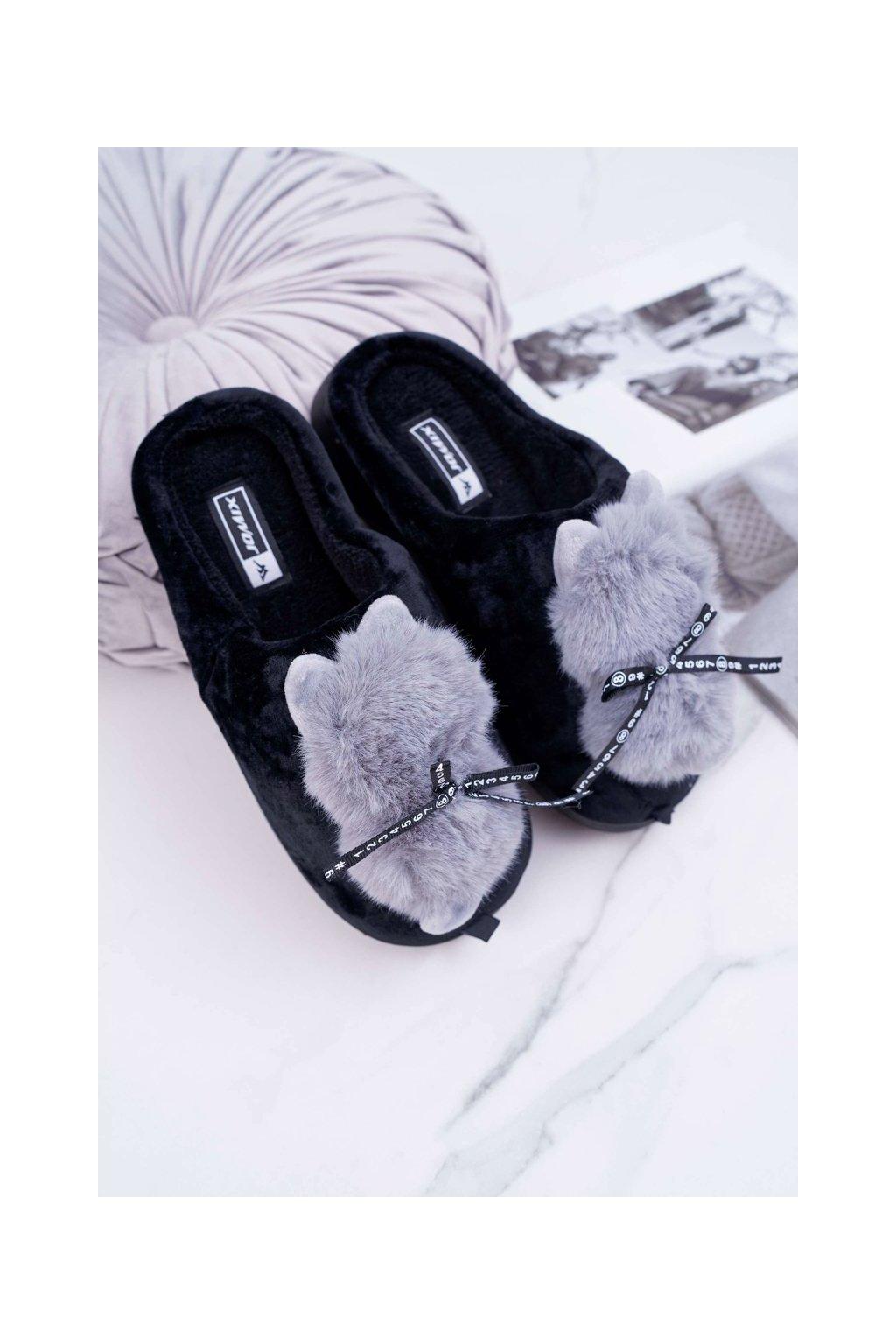 Dámske papuče s kožušinou kocour čierne Kitty