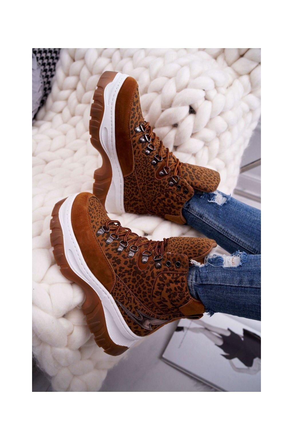 Dámske trekové topánky farba hnedá kód obuvi HE104 CAMEL LEOPARD