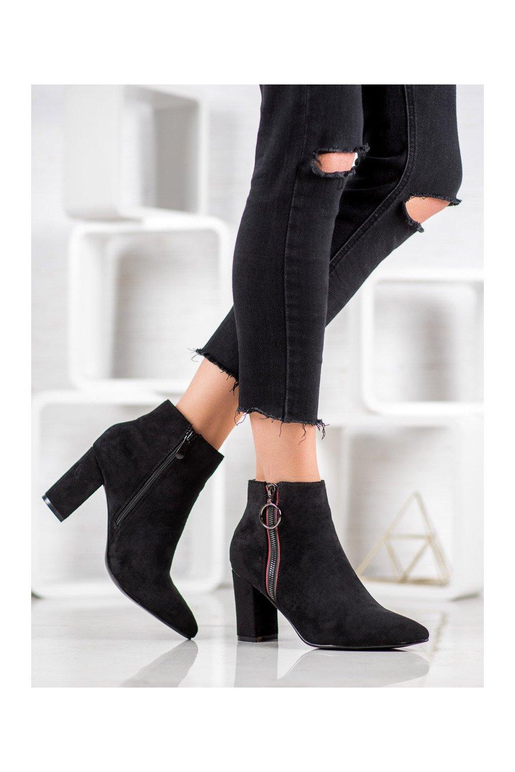 Čierne dámske topánky Small swan kod OM279B