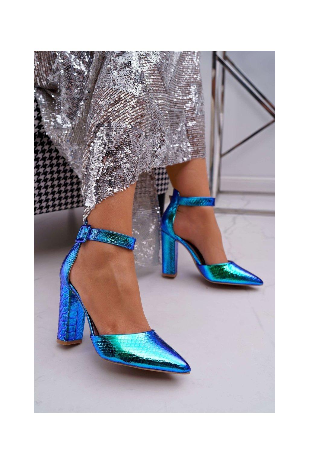 Dámske lodičky farba modrá kód obuvi SY59P BLUE