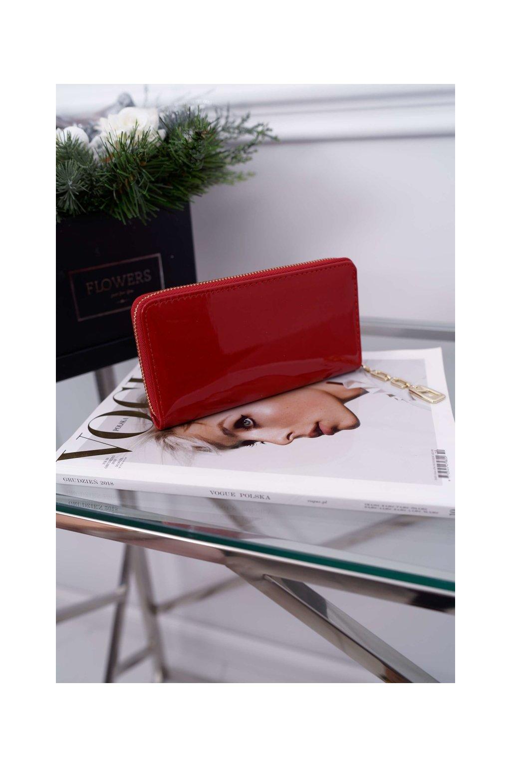 Dámska Peňaženka Velká červená se Zlatým Dekorativním zipem