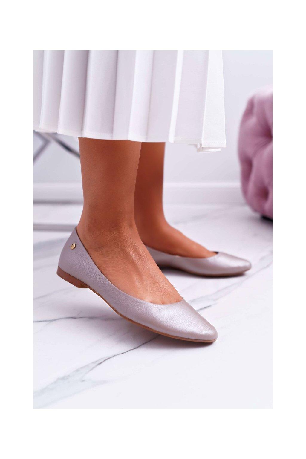 Dámske balerínky farba hnedá kód obuvi 04100-10/00-8 METALIC BEIGE