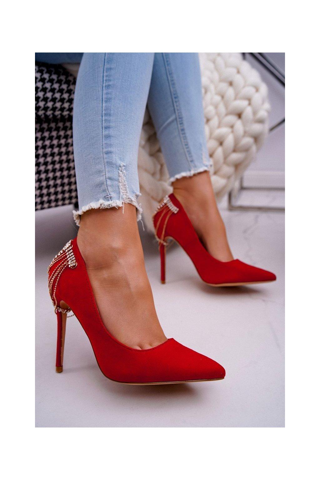 Dámske lodičky farba červená kód obuvi P4D5691-8 RED