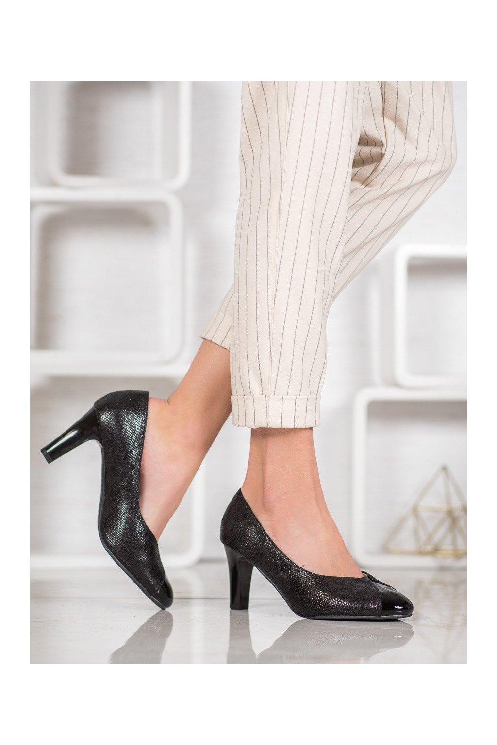 Čierne dámske lodičky na hrubom podpätku Kylie kod K1806501NE