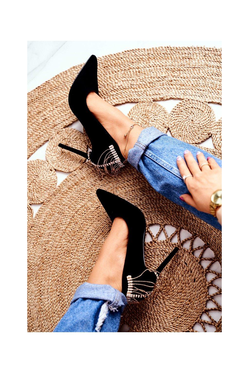 Dámske lodičky farba čierna kód obuvi P4D5691-8 BLK