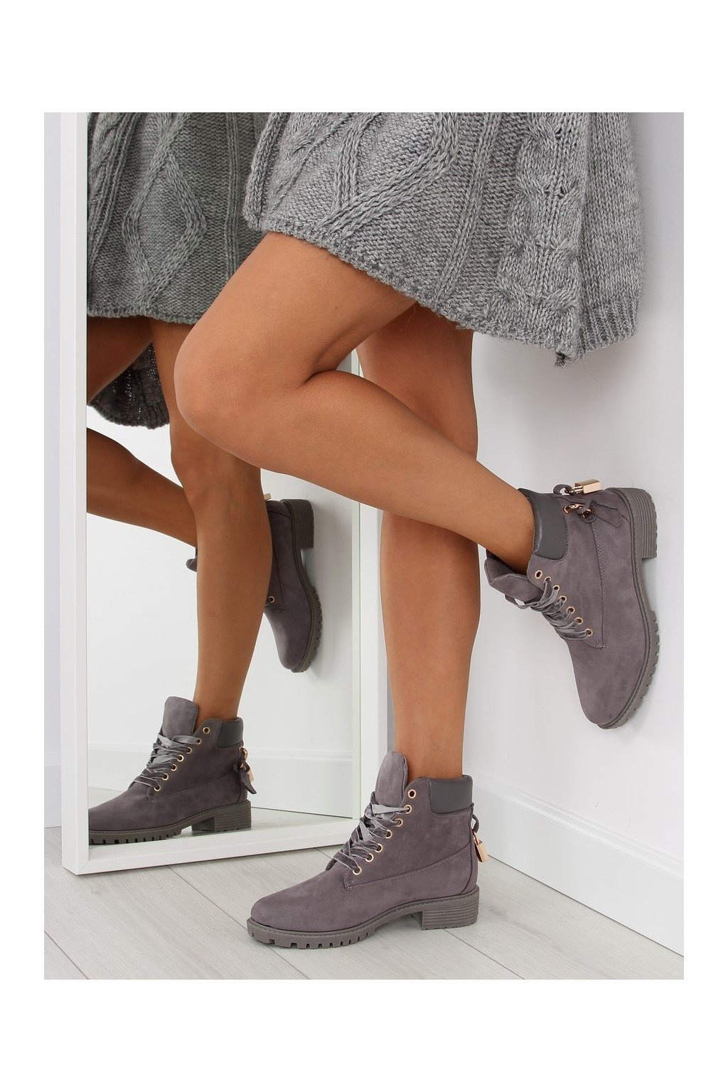 Dámske topánky na zimu sivé AT-0623-L