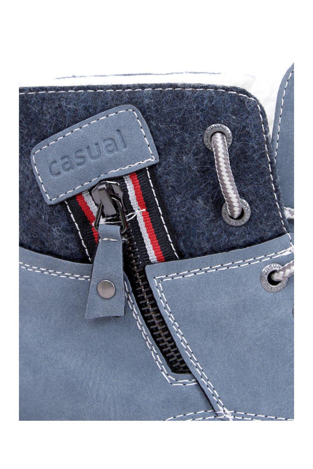 Dámske členkové topánky modré na plochom podpätku GD-TL10