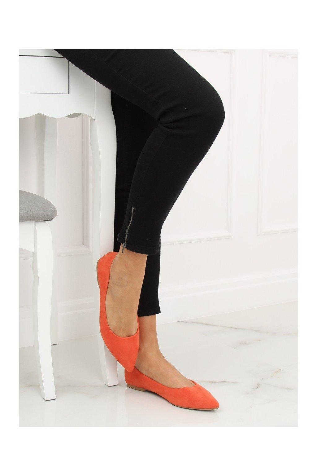 Dámske baleríny oranžové 3157-BAL