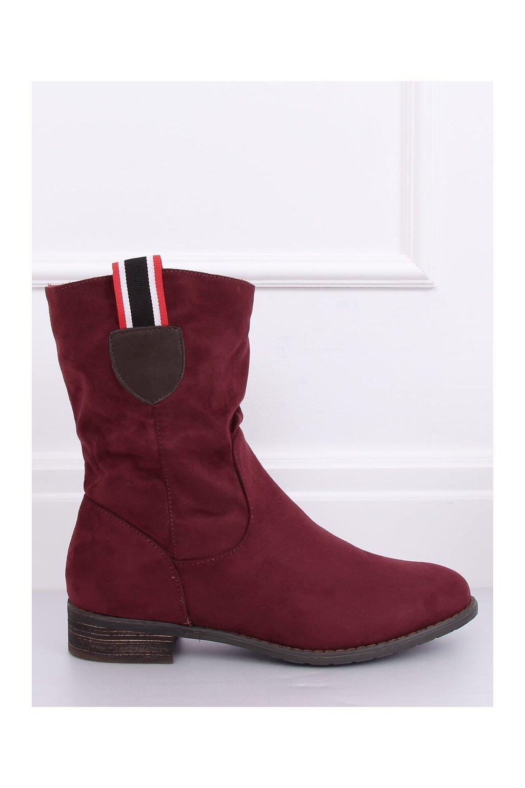 Dámske členkové topánky červené na plochom podpätku 99-110